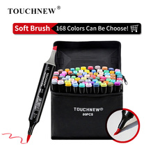 TOUCHNEW 168 Colors Single Art Markers Brush Pen Sketch Alcohol Based Markers Dual Head Manga Drawing Pens Art Supplies finecolour markers 24 colors 0 4mm fineliner pens super fine drawing color pen water based ink art markers for school supplies