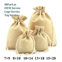 Gift Bags&Pouches 50Pcs/Lot Multi Color Natural Burlap Wedding Candy Cookies Pouch Jute Drawstring Bags Various Size