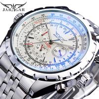 Jaragar White Dial Automatic Watch Complete Calendar Silver Stainless Steel Luminous Business Sport Mechanical Date Wristwatch