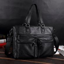 Męskie teczki skórzane torby męskie teczki na co dzień torebki torebki biurowe na torba męska skórzana torba na laptopa teczki biznesowe tanie tanio GOEMIMI Pojedyncze Wewnętrzna kieszeń Wnętrze slot kieszeń Miękki uchwyt 39cm zipper NONE Skóra syntetyczna leather