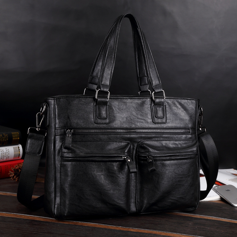 New Luxury Cow Leather Business Men's Briefcase Male Briefcase Shoulder Bag Men's Messenger Bag Tote Computer Handbag