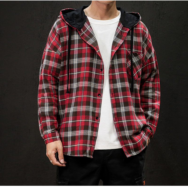 Oversize 2019 Red Plaid New Brand Men Fashion Loose Casual Streetwear Men Clothing Soft Men's Large Hooded cap Patchwork Jackets