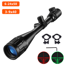 6 24x50 3 9x40 Hunting Optics Adjustable Green Red Dot Hunting Light Tactical Scope Reticle Optical Rifle Scope With 11MM/20MM