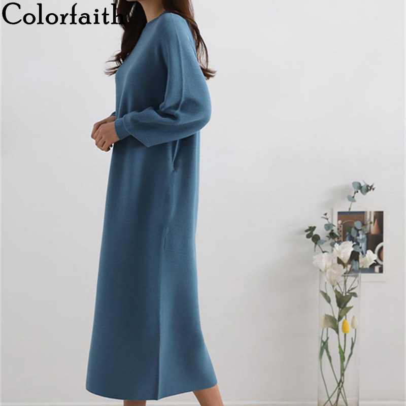 Colorfaith New 2019 Autumn Winter Women Mid-Calf Knitting Straight Sweaters Dresses Korean Style Elegant Solid Casual DR2997