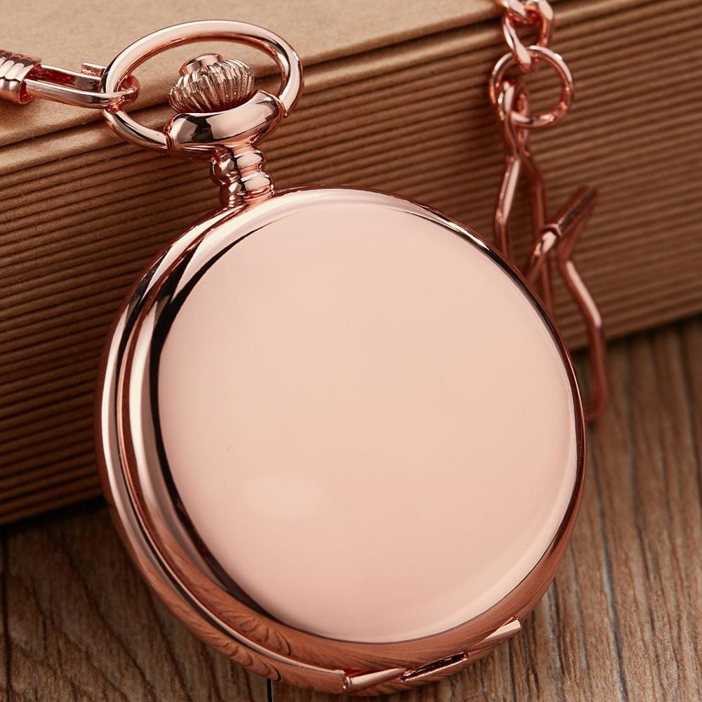 Vintage Smooth Quartz Pocket Watch Rose Gold Clock Pocket Watch FOB Chain For Gift