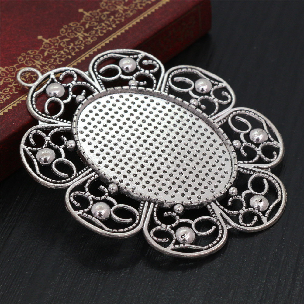 New Fashion 5pcs 30x40mm Inner Size Antique Silver Pierced Style Cabochon Base Setting Charms Pendant (B1-01)