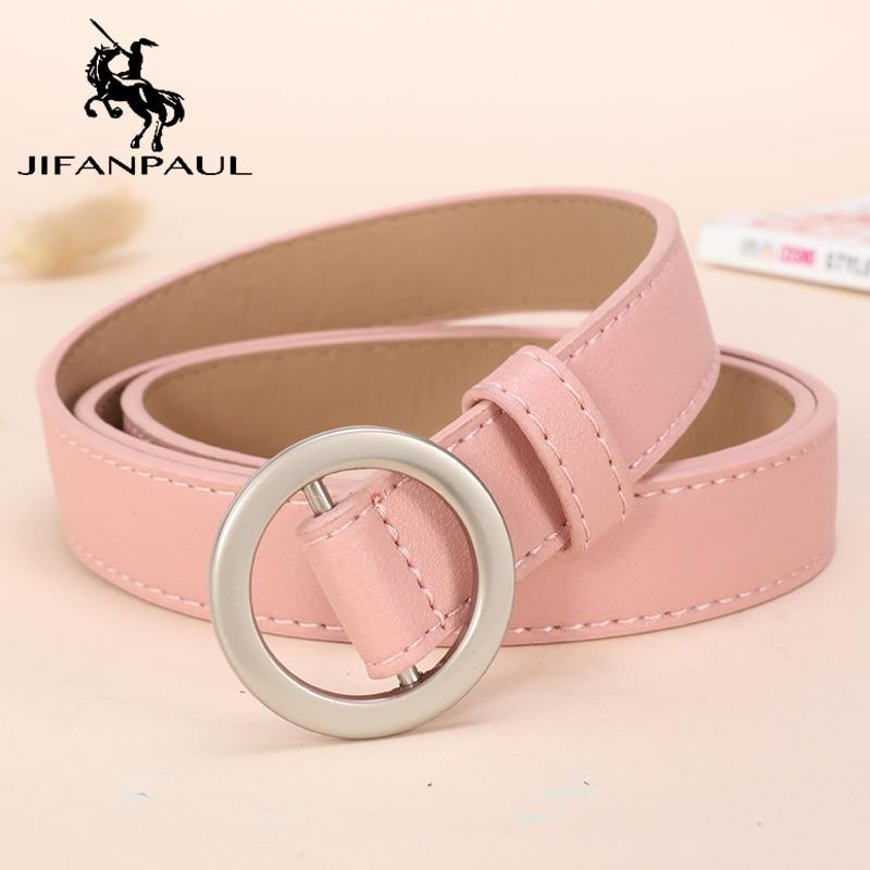 JIFANPAUL Women Leather Belt Round Metal Pin BuckleHigh Quality Leather Fashion Retro Soft Student For Women Belt Free Shipping