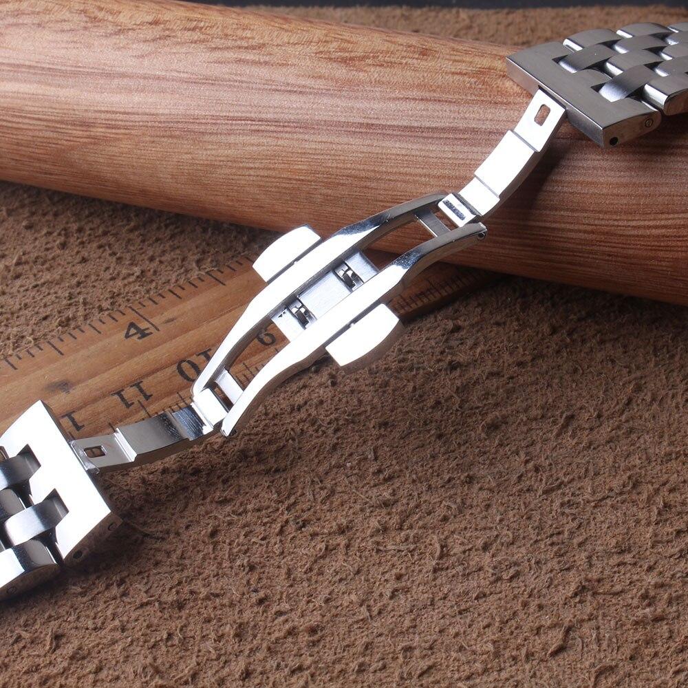 Hiag качество ремешок для часов из нержавеющей стали Изогнутые концы серебро 16 мм 18 мм 19 мм 20 мм 21 мм 22 мм 24 мм Ремешки для наручных часов браслет Мода