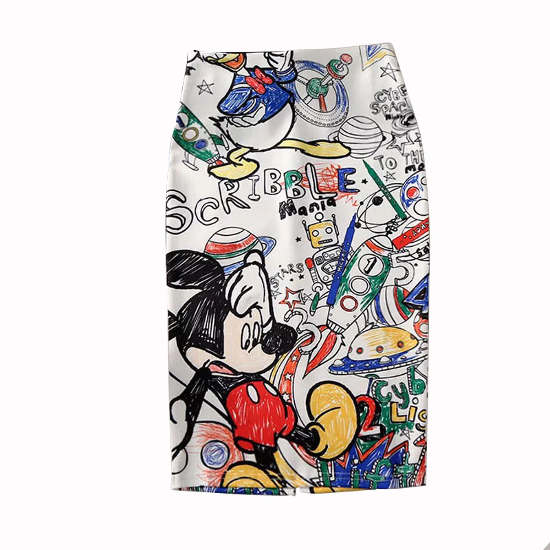 Women's Pencil Skirt 2019 Mickey New Cartoon Mouse Print High Waist Slim Skirts Young Girl Summer Large Size Female Falda