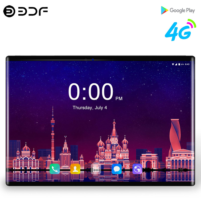 "2.5D Tempered Glass 4G Phone Call 10.1"" Tablet PC Android 9.0 Ten Core 8GB/128GB 8.0 MP Wi-Fi Support 1920*1200 IPS Tablet PC"