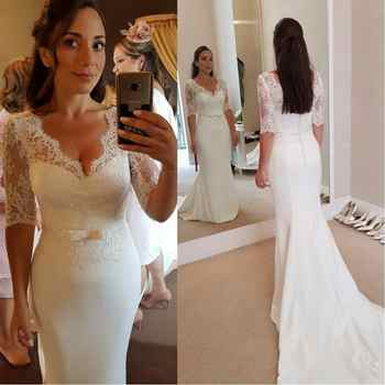 Vintage Satin Mermaid Wedding Dresses 2019 Applique Lace Wedding Gowns Handmade Half Sleeves Sweep Train Bride Dress - DISCOUNT ITEM  0% OFF All Category