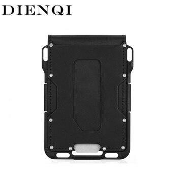 DIENQI Genuine Leather Skin Rfid Credit Card Holder Metal Men Wallets 2021 Badge Cardholder Aviator Minimalist Wallet for Card 1