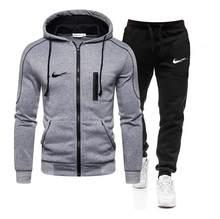 Duas novas peças terno de esportes com capuz camisolas em execução ternos dos homens moda hoodie outono inverno marca roupas hoodies + calças dos homens