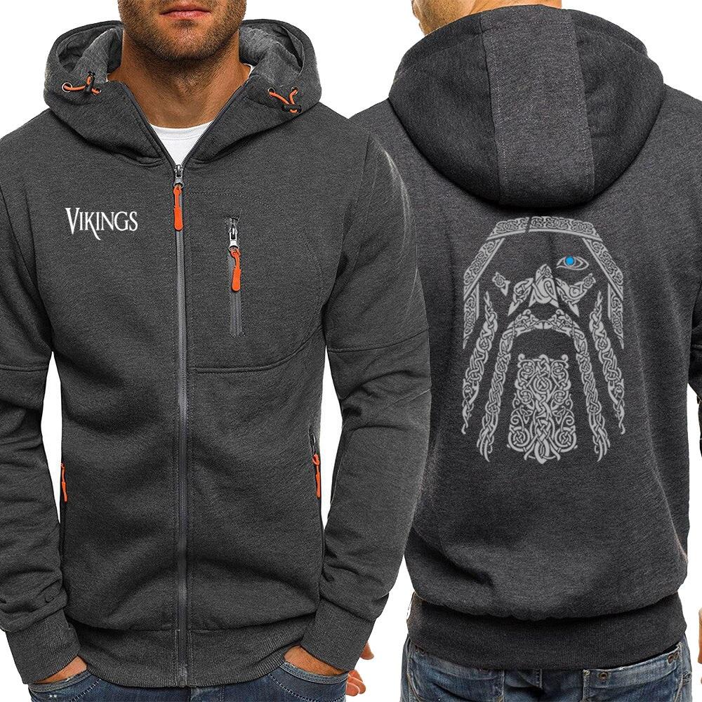 Vintage Print Hoodies Men Odin Vikings Streetwear Male Fashion Jackets Zipper Autumn Hoodie Male Hot Sale Coat Fleece Sweatshirt