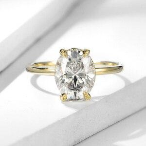 Image 2 - Kuololitรูปไข่8X10 Moissaniteแหวนผู้หญิงแหวนทองคำขาว10K Dสีฟ้าสีเขียวSolitaireหมั้นเครื่องประดับFine 585