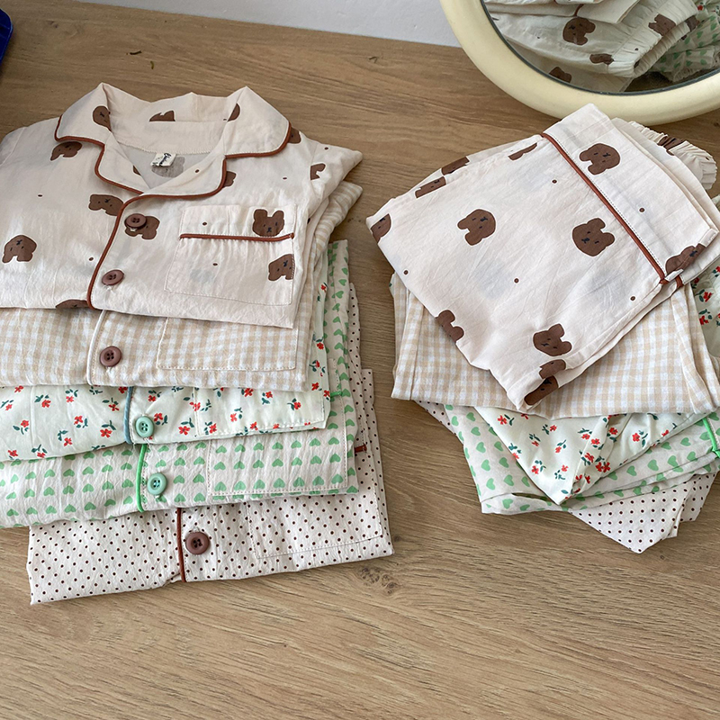 1428.0¥ 38% OFF MILANCEL 2021 Summer New Kids Pajamas Korean Print Suit for Boys and Girls Casual C...