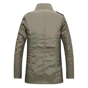 Image 3 - Classic Long Men Trench Coat For Summer Thin Male Casual Khaki Zipper 2019 Windbreaker Streetwear Outerwear Baggy Varsity Jacket