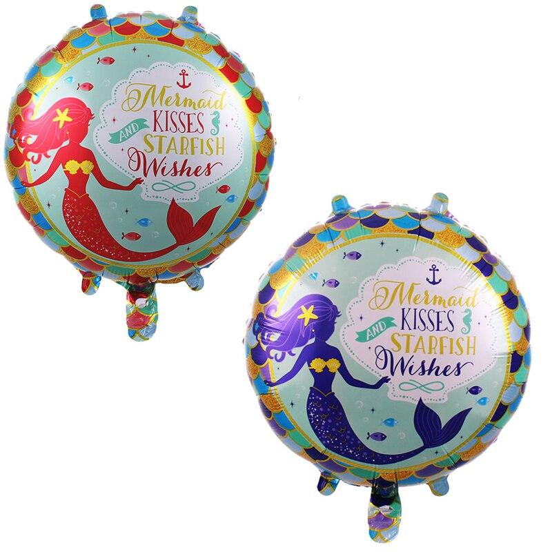 50pcs 18 pouces océan fête d'anniversaire décorations enfants ballon aluminium Film rond sirène ballons Globos mariage bébé douche fille