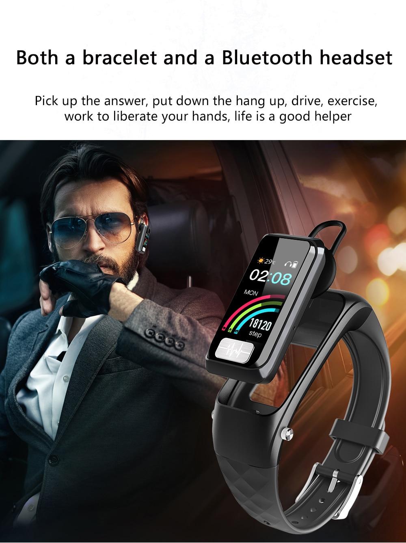 Cobrafly H207 bluetooth oortelefoon armband smart band horloge fitness tracke smart watch mannen vrouwen waterdichte smart armband ECG - 2