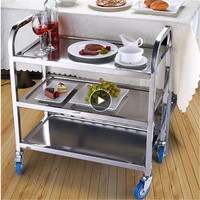 Kitchen Islands Trolleys Hotel Car Tableware Waste Cans Stainless Steel Storage Rack Metal Removable Cart French Delivery Waste