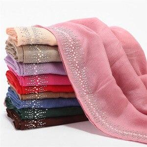 Image 4 - Ngọc Trai Sang Trọng Cotton Nữ Hijab Dưới Khăn Kèm Mũi Khoan Phụ Nữ Hồi Giáo Khăn Choàng Và Quấn Băng Đô Cài Tóc Turban Gọng Hồi Giáo Quần Áo Liền Khăn Trùm Đầu
