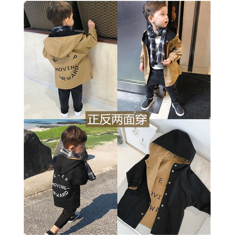 Boys Windbreaker Wear on Both Sides Casual Letter Print  Kids Trench Coat  Toddler Boy Jackets Autumn Hooded Children Coats 2019Jackets & Coats   -