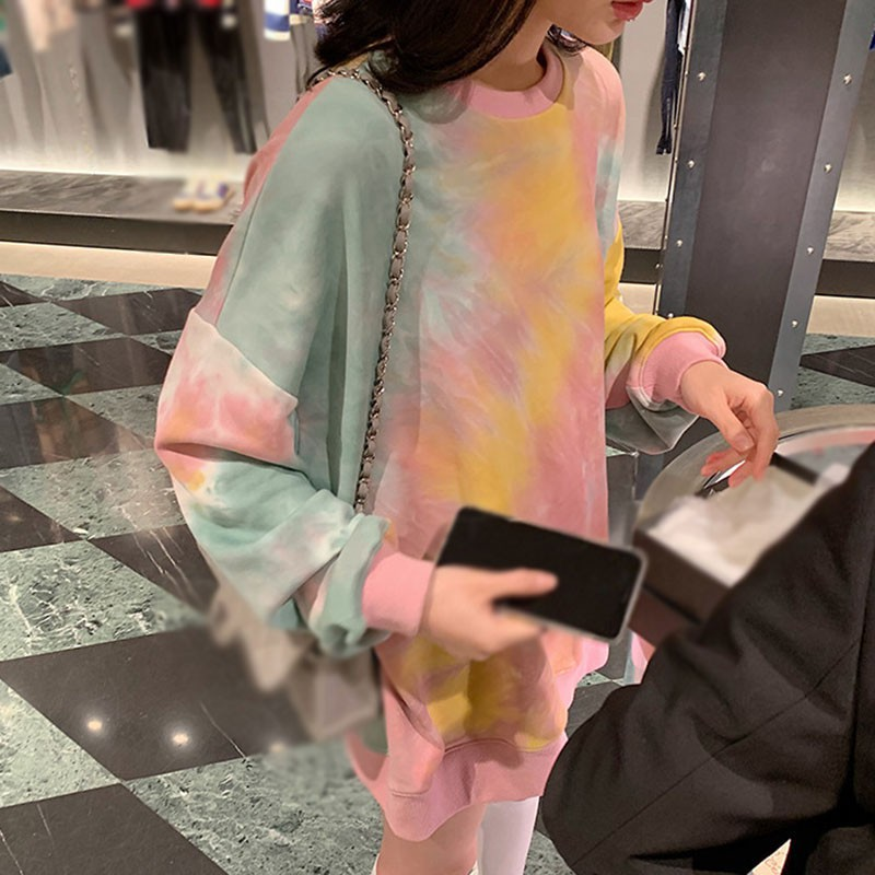 Women Autumn Fashion Tye Dye Shirt Colorful Hoodies Pullover Sweatshirts Tops Loose Comfortable Long-sleeve Shirts Newest 6