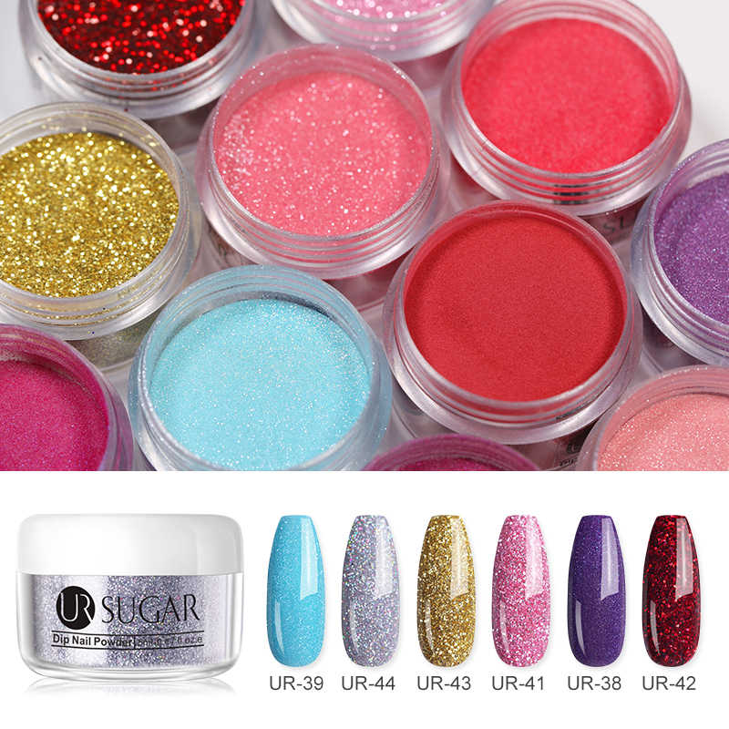 UR Gula 5 Ml Colorful Mencelupkan Kuku Bubuk Hologram DIP Shimmer Glitter Pigmen Debu Kuku Seni Dekorasi Manikur Tips DIY
