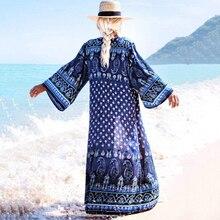 цена на Fitshinling Big Sleeve Beach Kimono Swimwear Print Swimsuits Cove-Up BOHO Summer Sexy Long Cardigan Holiday Slim Bikini Outing