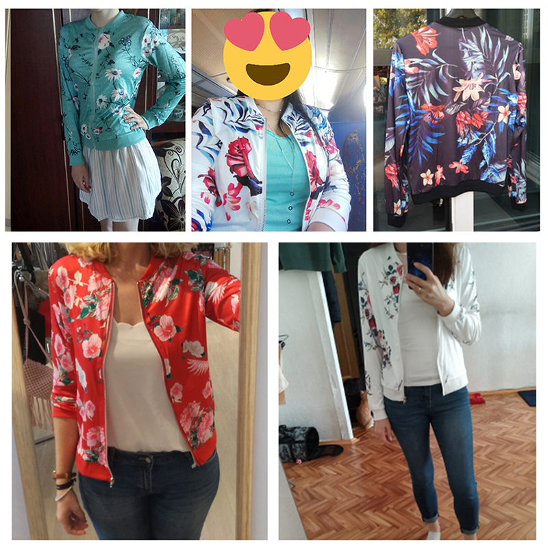 Spring Women 39 s Jacket Floral Printed Plus Size Jackets Zipper Short Female Coat Tops O Neck Long Sleeve Casual Bomber Jacket in Jackets from Women 39 s Clothing