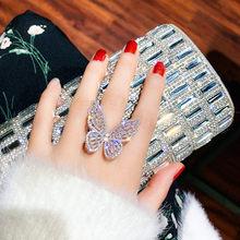 Anelli di cristallo di lusso FYUAN per donna 2019 anelli di farfalla brillanti regolabili aperti regali di gioielli per matrimoni