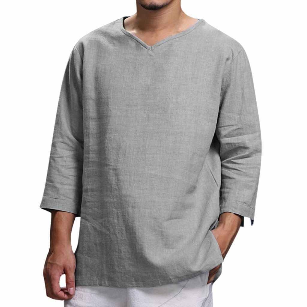 男性綿リネンシャツ秋カジュアル V ネックソリッドシャツトップ男性ゆるいカジュアルなレジャーシャツブラウスジョギング通気性カミーサ