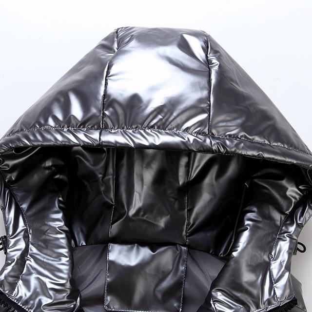 Women Winter Vests Hooded 2020 New Short Bright Color Vest Cotton Padded Jacket Sleeveless Female Winter Waistcoat Vest 5