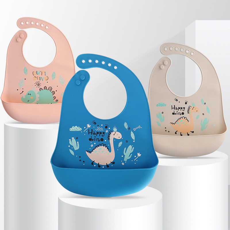 Waterproof Soft Baby Silicone Bibs Cute Cartoon Printed Kids Girl Boy Adjustable Children Bib Baby Lunch Feeding Stuff