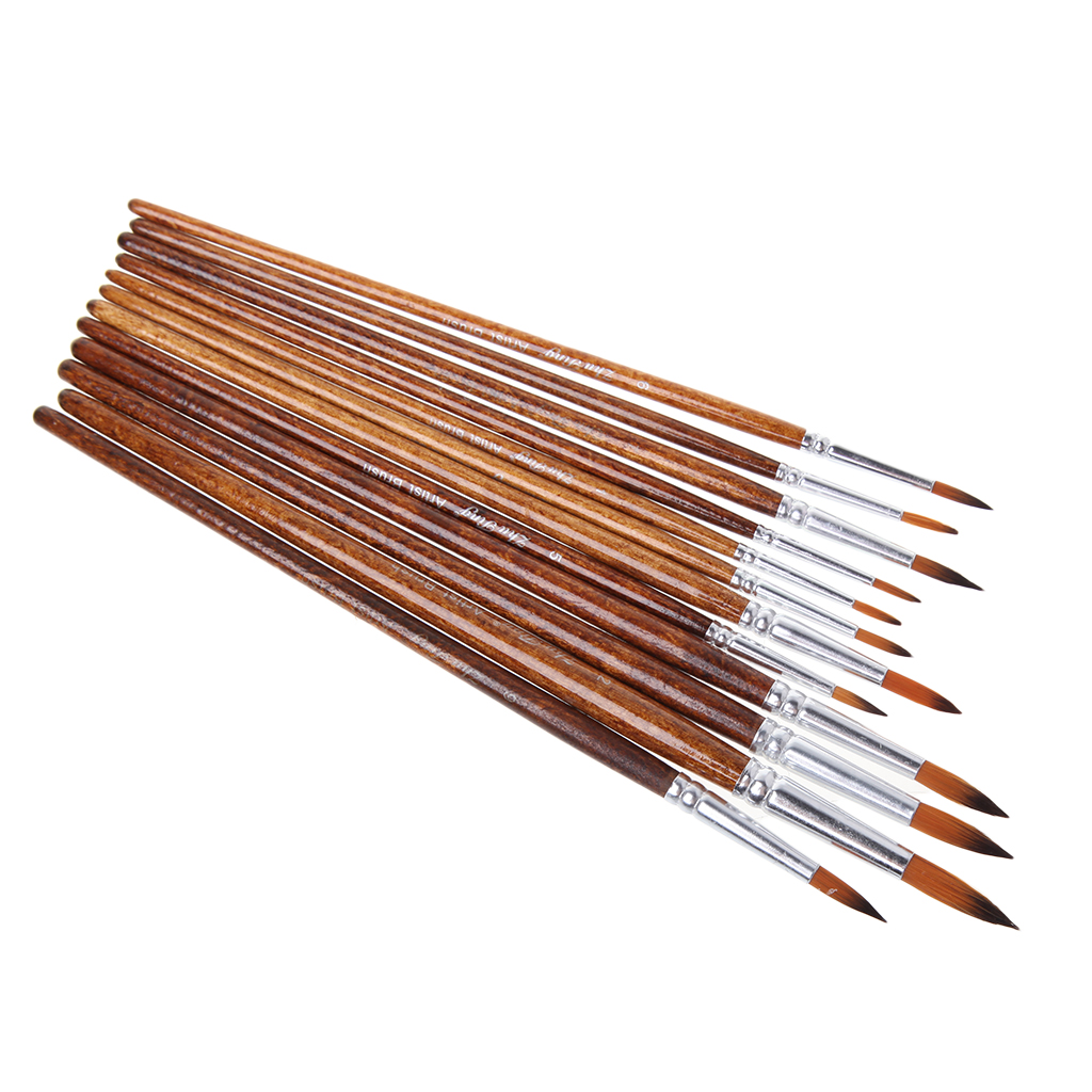 12Pcs Artists Paint Brush Set Nylon Hair Acrylic Watercolor Round Pointed Tip