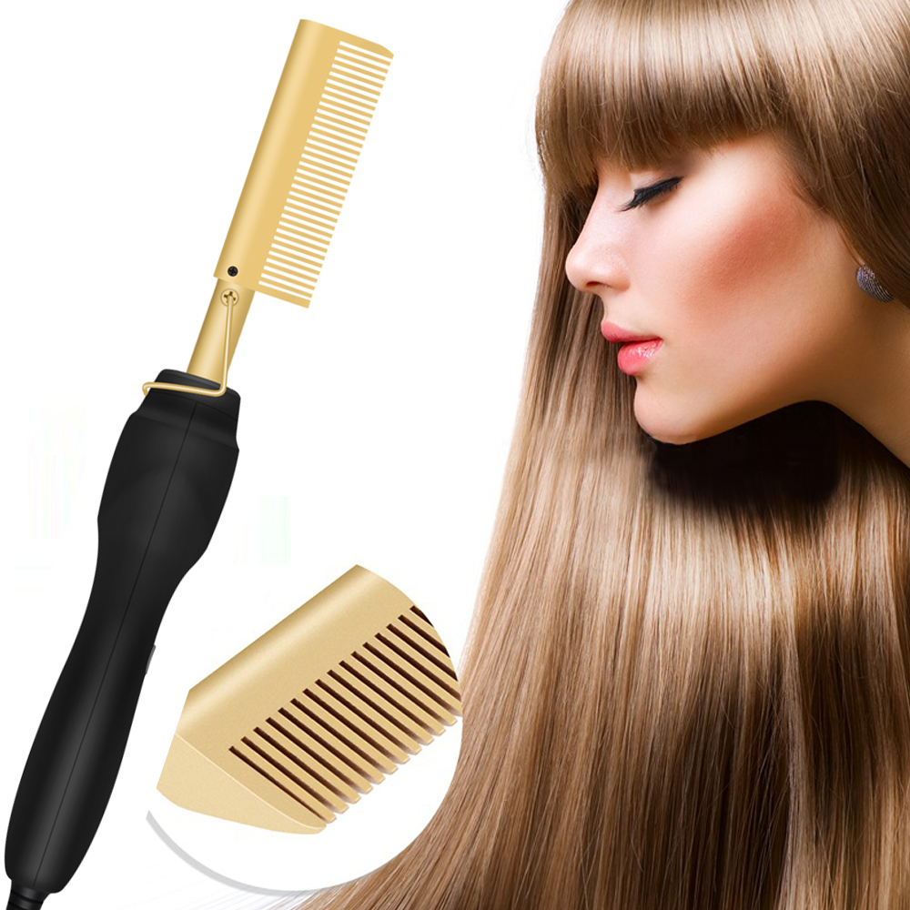 Hair Straightener Curler Hair Hot Comb Wet And Dry Use Professional Straightener Brush Electric Titanium Alloy Comb Dropshipping