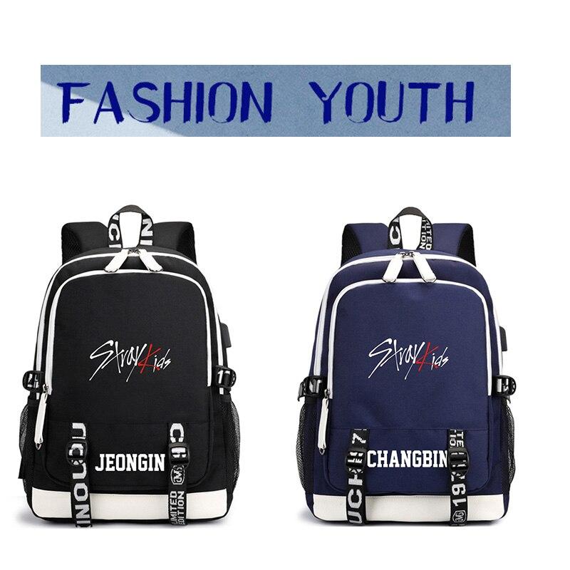 KPOP USB Stray Kids Backpack Black Blue School Bag JISUNG WOOJIN SEUNGMIN MINHO JEONGIN FELIX CHANGBIN HYUNJIN LJJ626