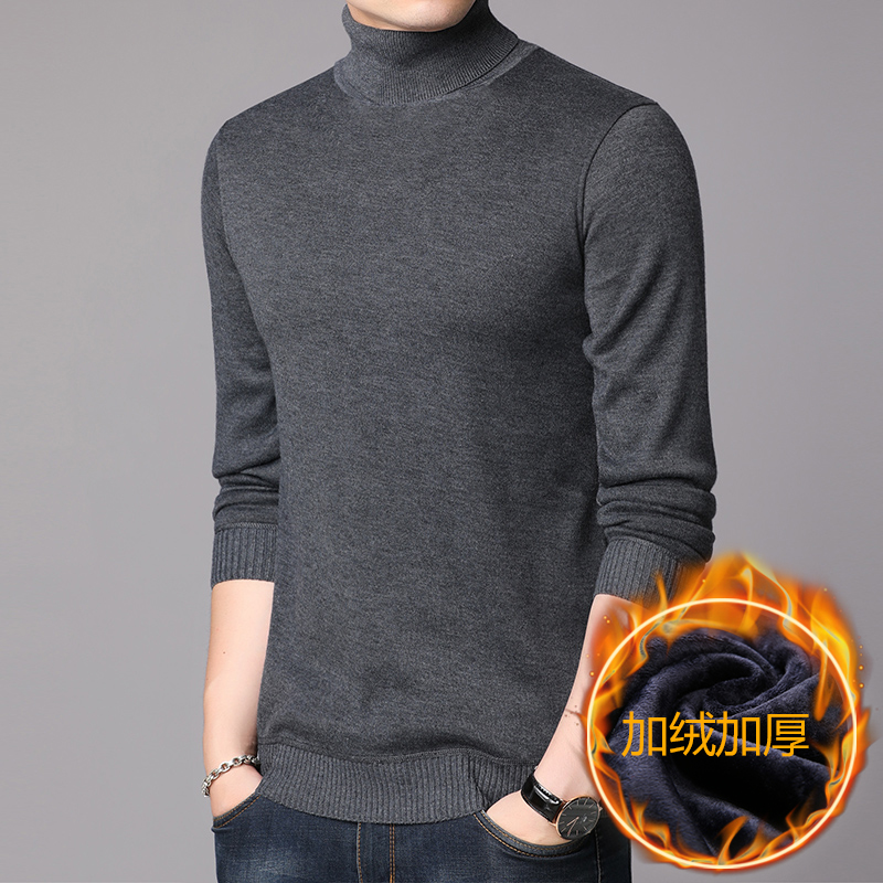 Male Knit Turtleneck Thick Warm Cashmere Sweater Autumn Winter Men Wool  High Collar Sweater High Quality