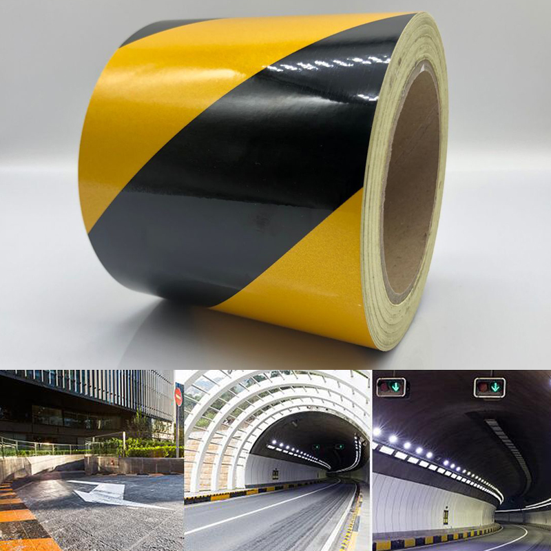 Width 10cm  Self-adhesive Reflective Safety Warning Tape Road Traffic Construction Site Reflective Guide Sign