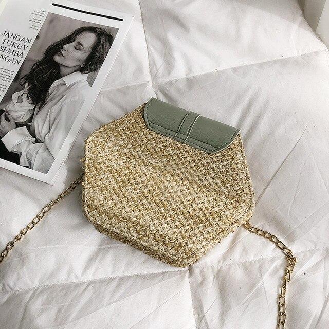 Hexagon Mulit Style Straw+leather Handbag Women 5