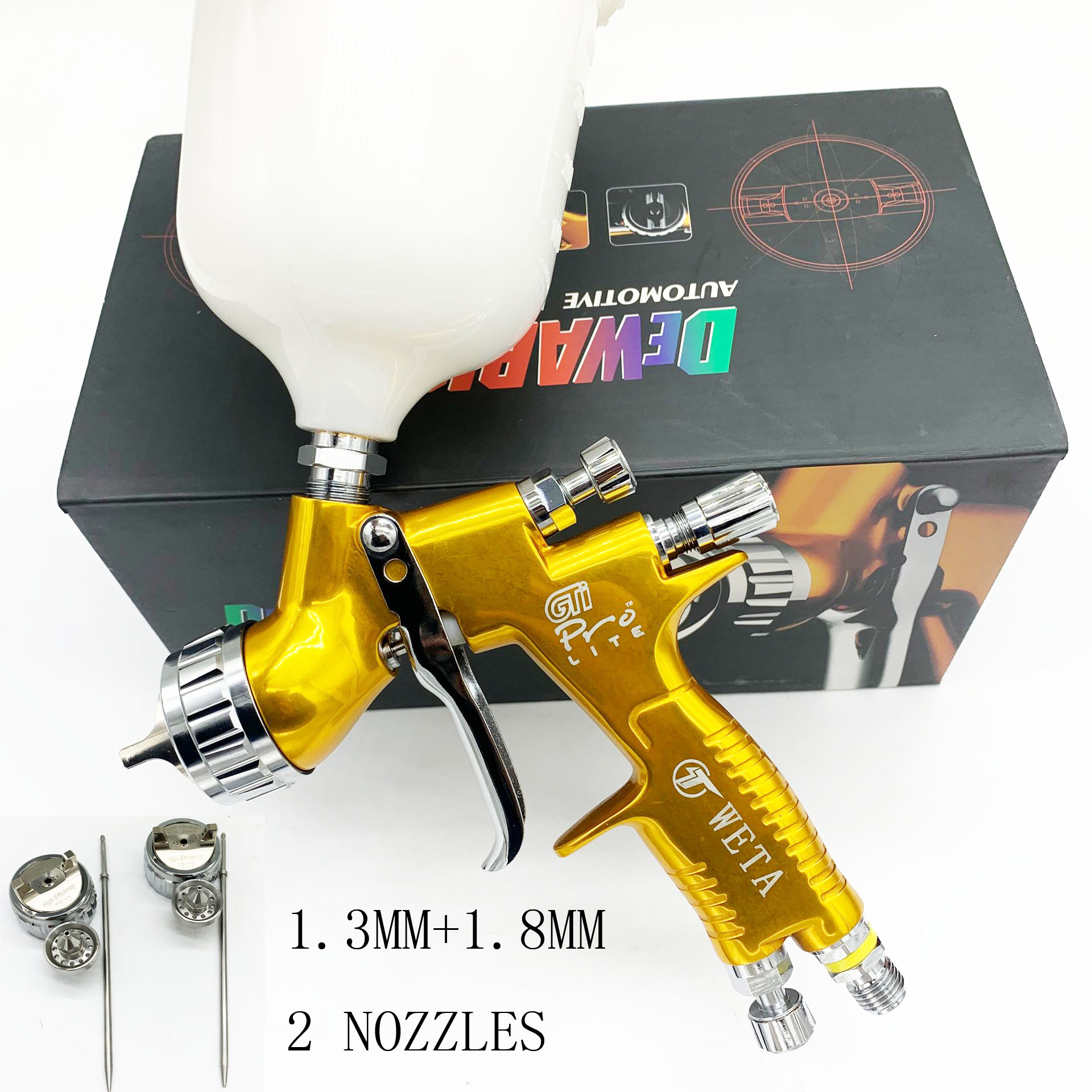 Gti Pro Spray Gun TE10/TE20/T110 1.3/1.8mm HVLP Airless Spray Painting Car Paint Airbrush Tool For Water Based High Quality