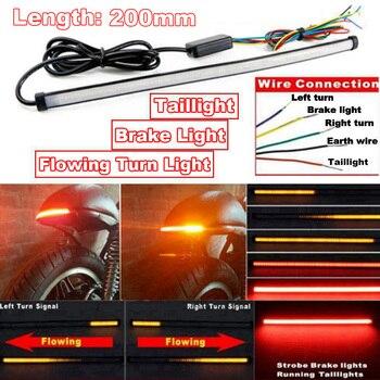 1 pieza cc 12 24V rojo ámbar motocicleta bicicleta LED luces traseras de flujo secuencial señal de giro tira de luz reemplazo|  -