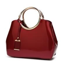 Bolsas femininas do vintage famosa marca de moda doces couro patente bolsas de ombro senhoras totes simples trapézio saco do mensageiro