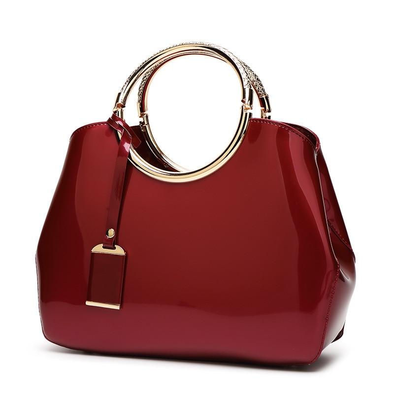 Vintage Women's Handbags Famous Fashion Brand Candy Patent Leather Shoulder Bags Ladies Totes Simple Trapeze Women Messenger Bag