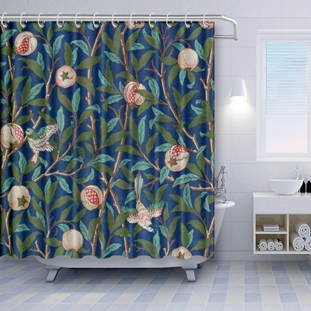 design bird and pomegranate by william morris decorative fabric shower curtain