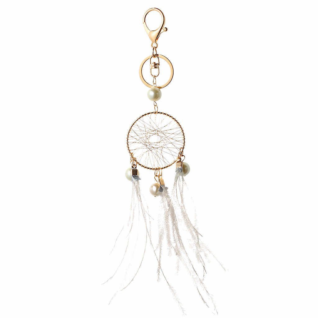 Gift Pink Black Beads Dreamcatcher Feather Wind Chimes Dream Catcher Charms Bag Key Chain Women Vintage Indian Style Keychain