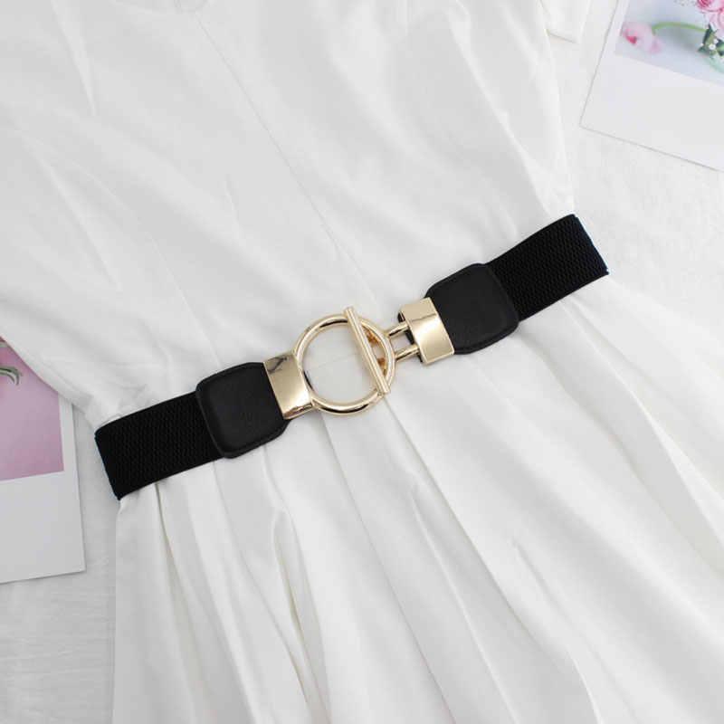 حزام نسائي مرن فستان بحزام ذهبي مشبك حزام تزيين بأكمام بسيطة للنساء بأحزمة واسعة نمط للجسم حزام نسائي