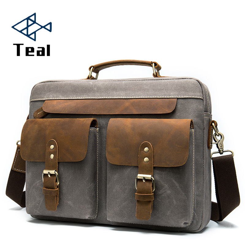 Men Briefcase Bag For Men Vintage Genuine Leather And Canvas 14 Inch Laptop Briefcase Shoulder Bag For Male