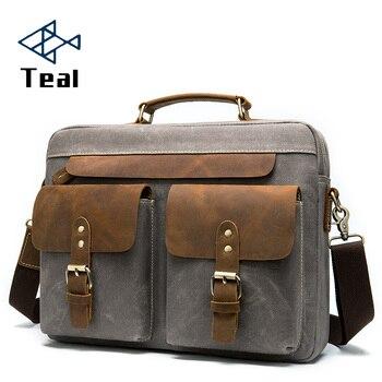 Men Briefcase Bag for Men Vintage Genuine Leather and Canvas 14 inch Laptop Briefcase Shoulder Bag for male