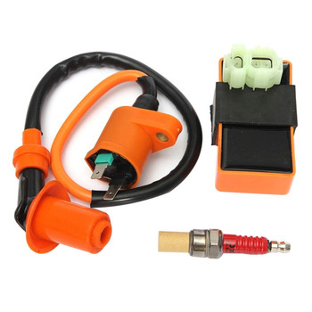 цена на Motorcycle ATV Racing CDI + Ignition Coil + Spark Plug For GY6 50cc 125cc 150cc 139QMB 152QMI 157QMJ Racing Ignition Coil New